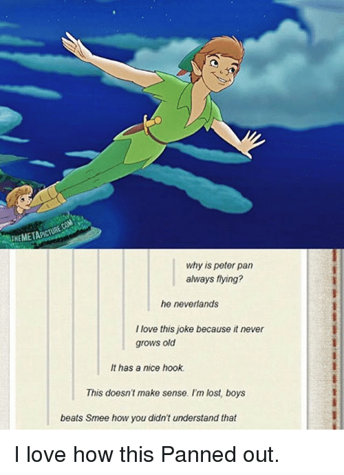 Memes, Peter Pan, and Hook: why is peter pan  always flying?  he neverlands  love this joke because it never  grows old  It has a nice hook.  This doesn't make sense. I'm lost, boys  beats Smee how you didn't understand that I love how this Panned out.