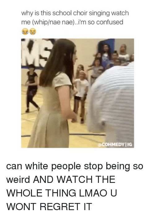 nae nae: why is this school choir singingwatch  me (whip/nae nae)..i'm so confused  @COHMEDYIIG can white people stop being so weird AND WATCH THE WHOLE THING LMAO U WONT REGRET IT