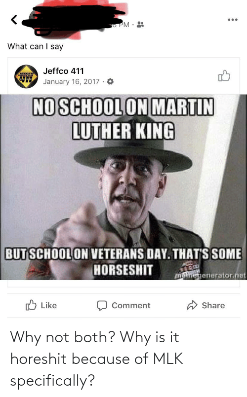 Because Of: Why not both? Why is it horeshit because of MLK specifically?
