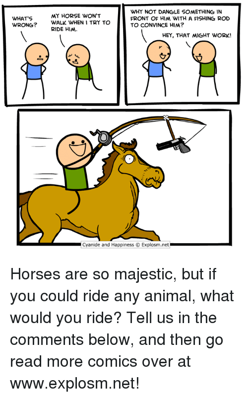 my horse: WHY NOT DANGLE SOMETHING IN  FRONT OF HIM WITH A FISHING ROD  TO CONVINCE HIM?  MY HORSE WON'T  WHAT'S  WRONG?  WALK WHEN I TRY TO  RIDE HIM  HEY, THAT 씨GHT WORK!  Cyanide and Happiness © Explosm.net Horses are so majestic, but if you could ride any animal, what would you ride? Tell us in the comments below, and then go read more comics over at www.explosm.net!