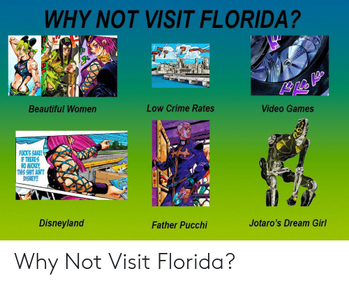 Beautiful, Crime, and Disney: WHY NOT VISIT FLORIDA?  Low Crime Rates  Video Games  Beautiful Women  FUCK'S SAKE!  IF THERES  NO MICKEY  THIS SHIT AIN'T  DISNEY!!  Disneyland  Jotaro's Dream Girl  Father Pucchi Why Not Visit Florida?