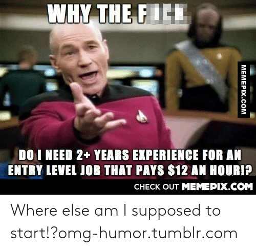entry level job: WHY THE FICE  DO I NEED 2+ YEARS EXPERIENCE FOR AN  ENTRY LEVEL JOB THAT PAYS $12 AN HOURI?  CНЕCK OUT MEМЕРIХ.COM  МЕМЕРIХ.Сом Where else am I supposed to start!?omg-humor.tumblr.com