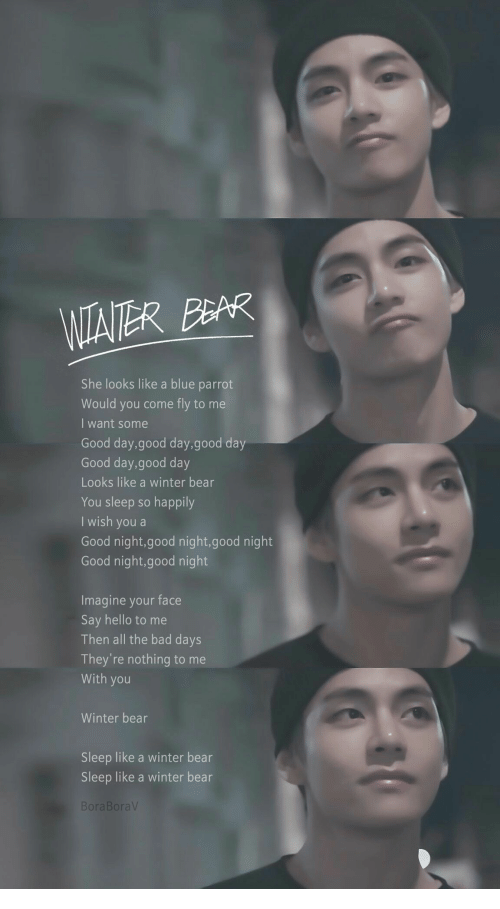 Bad, Hello, and Winter: WIAITER BEAR  She looks like a blue parrot  Would you come  fly to me  I want some  Good day,good day,good day  Good day,good day  Looks like a winter bear  You sleep so happily  I wish you a  Good night,good night,good night  Good night,good night  Imagine your face  Say hello to me  Then all the bad days  They're nothing to me  With you  Winter bear  Sleep like a winter bear  Sleep like a winter bear  BoraBoraV