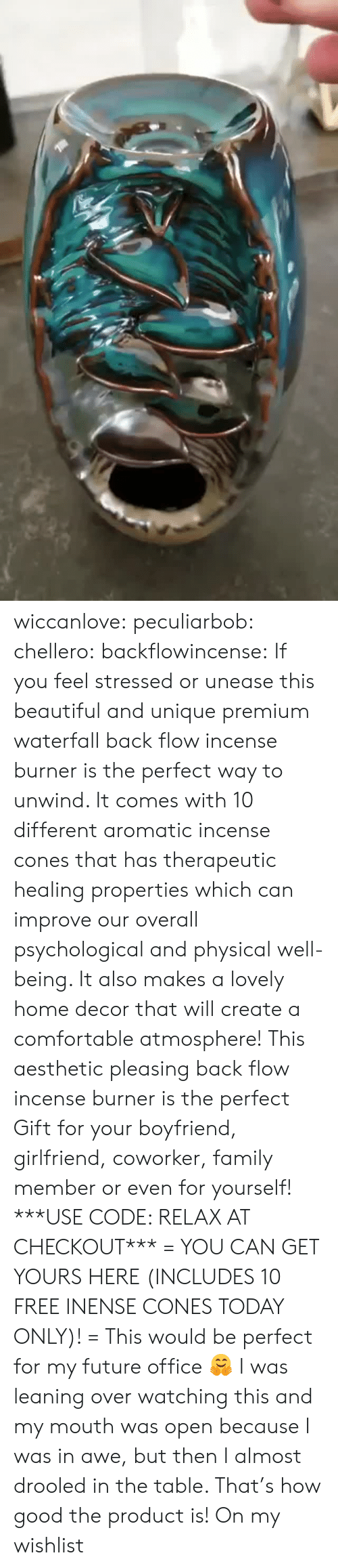 decor: wiccanlove:  peculiarbob: chellero:   backflowincense:  If you feel stressed or unease this beautiful and unique premium waterfall back flow incense burner is the perfect way to unwind. It comes with 10 different aromatic incense cones that has therapeutic healing properties which can improve our overall psychological and physical well-being. It also makes a lovely home decor that will create a comfortable atmosphere! This aesthetic pleasing back flow incense burner is the perfect Gift for your boyfriend, girlfriend, coworker, family member or even for yourself! ***USE CODE: RELAX AT CHECKOUT*** = YOU CAN GET YOURS HERE (INCLUDES 10 FREE INENSE CONES TODAY ONLY)! =   This would be perfect for my future office 🤗   I was leaning over watching this and my mouth was open because I was in awe, but then I almost drooled in the table. That's how good the product is!   On my wishlist