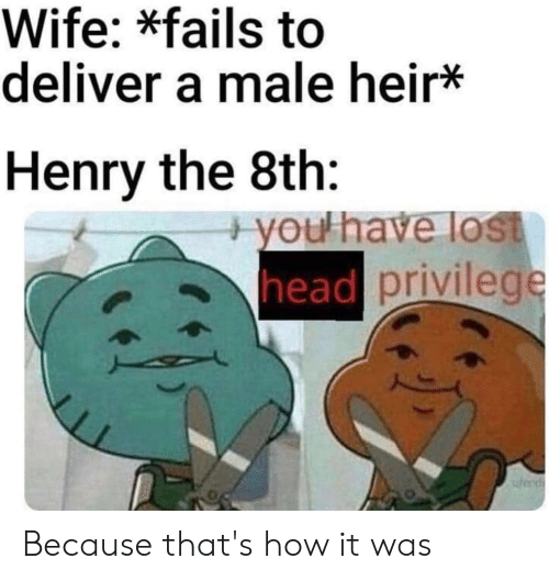Head, Lost, and History: Wife: *fails to  deliver a male heir*  Henry the 8th:  +you have lost  head privilege  wend Because that's how it was