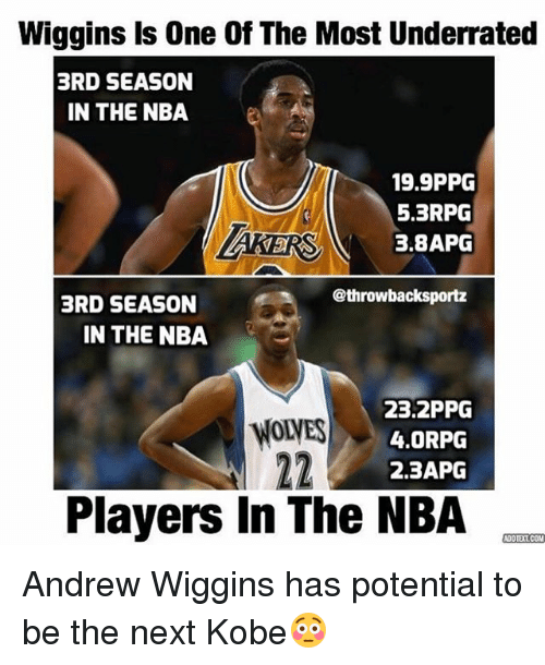 Andrew Wiggins: Wiggins Is One Of The Most Underrated  3RD SEASON  IN THE NBA  19.9PPG  5.3RPG  3,8APG  @throwbacksportz  BRD SEASON  IN THE NBA  23.2PPG  4.0RPG  2.3APG  Players In The NBA  COOTETCOM Andrew Wiggins has potential to be the next Kobe😳