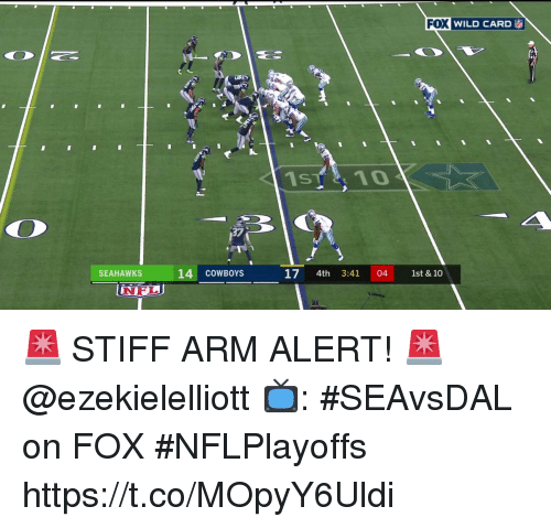 Dallas Cowboys, Memes, and Nfl: WILD CARD ia  37  SEAHAWKS  14 COWBOYS  17 4th 3:41 04 1st & 10  NFL 🚨 STIFF ARM ALERT! 🚨 @ezekielelliott  📺: #SEAvsDAL on FOX #NFLPlayoffs https://t.co/MOpyY6Uldi