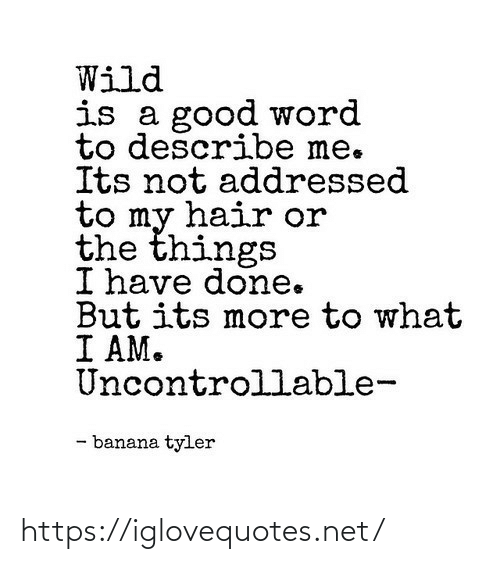 Hair: Wild  is a good word  to describe me.  Its not addressed  to my hair or  the things  I have done.  But its more to what  I AM.  Uncontrollable-  - banana tyler https://iglovequotes.net/