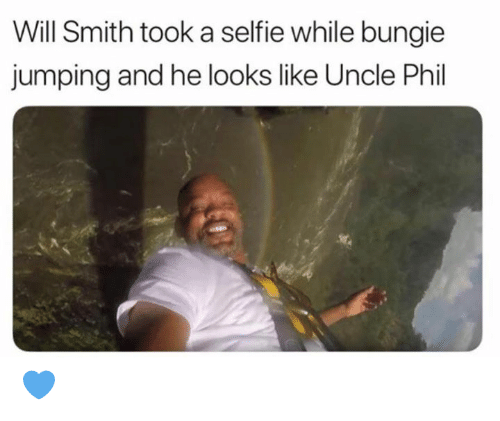 Selfie, Will Smith, and Grumpy Cat: Will Smith took a selfie while bungie  jumping and he looks like Uncle Phil 💙