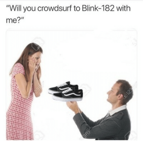 "Blink 182, Will, and Blink: ""Will you crowdsurf to Blink-182 with  me?"""
