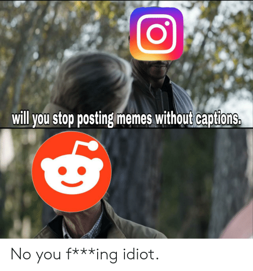 Memes, Idiot, and Ing: will you stop posting memes without captions. No you f***ing idiot.