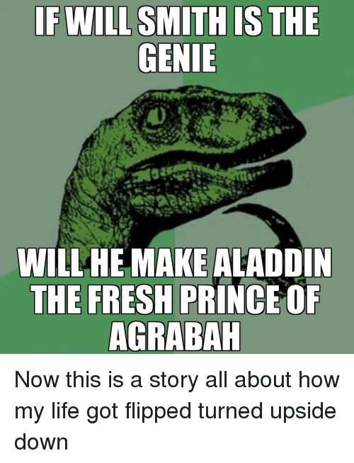 Aladdin: WILLHE MAKE ALADDIN  THE FRESH PRINCE OF  AGRABAH Now this is a story all about how my life got flipped turned upside down