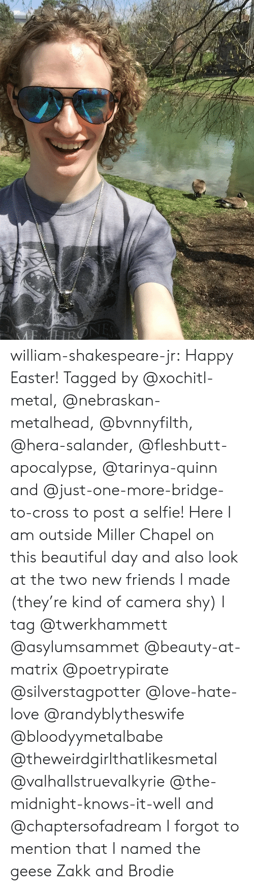 Am Outside: william-shakespeare-jr: Happy Easter! Tagged by @xochitl-metal, @nebraskan-metalhead, @bvnnyfilth, @hera-salander, @fleshbutt-apocalypse, @tarinya-quinn and @just-one-more-bridge-to-cross to post a selfie! Here I am outside Miller Chapel on this beautiful day and also look at the two new friends I made (they're kind of camera shy)   I tag @twerkhammett @asylumsammet @beauty-at-matrix @poetrypirate @silverstagpotter @love-hate-love @randyblytheswife @bloodyymetalbabe @theweirdgirlthatlikesmetal @valhallstruevalkyrie @the-midnight-knows-it-well and @chaptersofadream  I forgot to mention that I named the geese Zakk and Brodie
