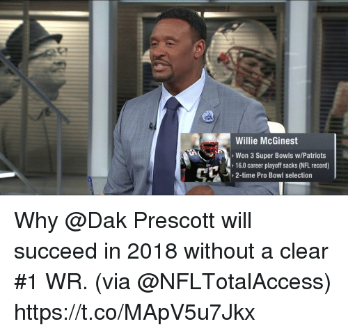 Memes, Nfl, and Patriotic: Willie McGinest  Won 3 Super Bowls w/Patriots  16.0 career playoff sacks (NFL record)  2-time Pro Bowl selection Why @Dak Prescott will succeed in 2018 without a clear #1 WR.   (via @NFLTotalAccess) https://t.co/MApV5u7Jkx