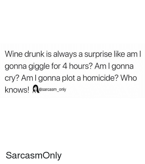 Drunk, Funny, and Memes: Wine drunk is always a surprise like am l  gonna giggle for 4 hours? Aml gonna  cry? Amlgonna plot a homicide? Who  knows! esarcasm only SarcasmOnly