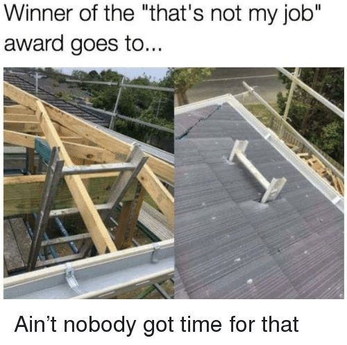 "Time, Got, and Job: Winner of the ""that's not my job""  award goes to... Ain't nobody got time for that"