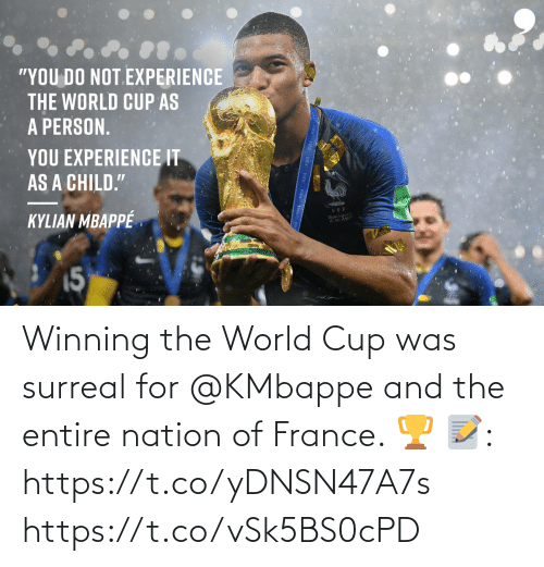 World Cup: Winning the World Cup was surreal for @KMbappe and the entire nation of France. 🏆  📝: https://t.co/yDNSN47A7s https://t.co/vSk5BS0cPD