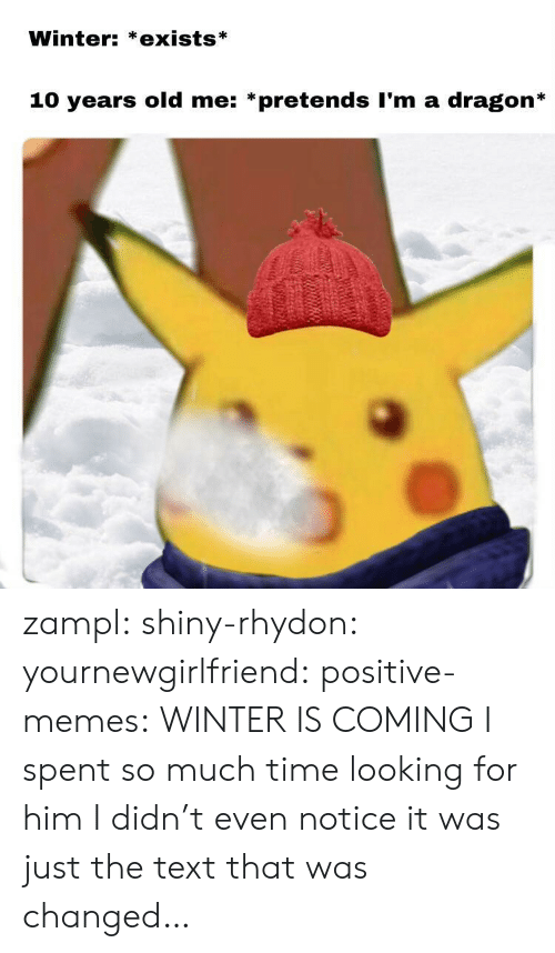 Winter Is: Winter: *exists*  10 years old me: *pretends I'm a dragon* zampl:  shiny-rhydon:   yournewgirlfriend:  positive-memes: WINTER IS COMING   I spent so much time looking for him I didn't even notice it was just the text that was changed…