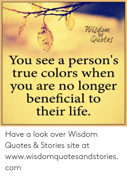 Wisdom Quotes You See a Person\'s True Colors When You Are No ...