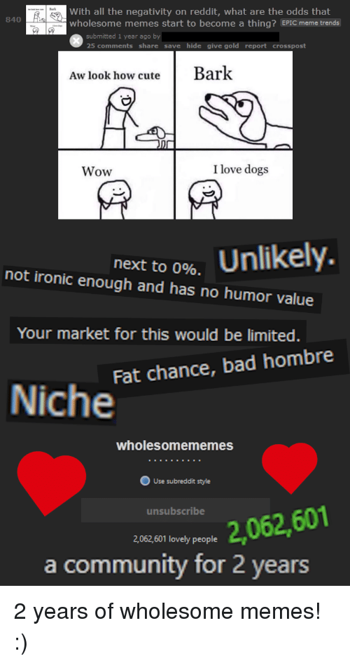 Bad, Community, and Dogs: With all the negativity on reddit, what are the odds that  wholesome memes start to become a thing? EPIC meme trends  840  submitted 1 year ago by  omments share save hide give gold report crosspost  Aw look how cuteBark  Wow  I love dogs  next to 0%.  not ironic enough and has no humor value  Your market for this would be limited.  Fat chance, bad hombre  Niche  wholesomememes  unsubscribe  2,062,601  2,062,601 lovely people  a community for 2 years 2 years of wholesome memes! :)