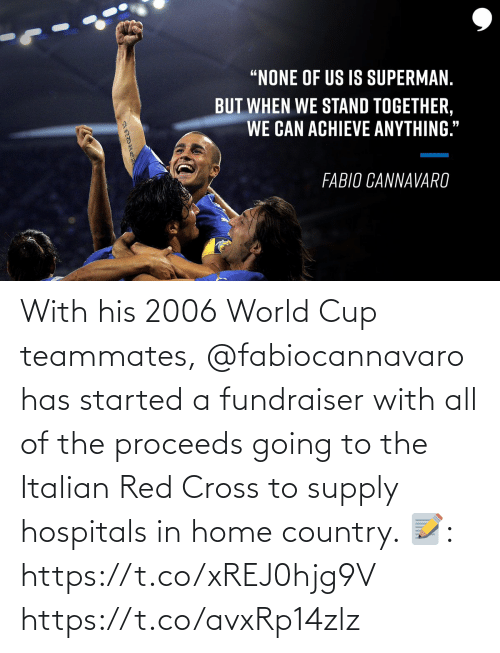 World Cup: With his 2006 World Cup teammates, @fabiocannavaro has started a fundraiser with all of the proceeds going to the Italian Red Cross to supply hospitals in home country.   📝: https://t.co/xREJ0hjg9V https://t.co/avxRp14zlz