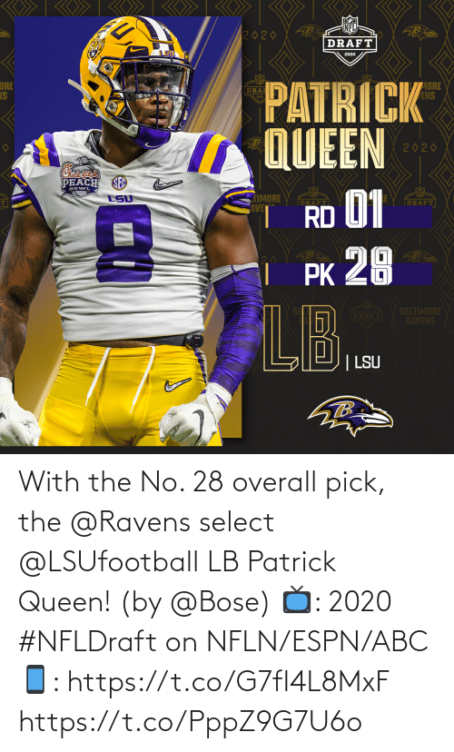 Queen: With the No. 28 overall pick, the @Ravens select @LSUfootball LB Patrick Queen! (by @Bose)  📺: 2020 #NFLDraft on NFLN/ESPN/ABC 📱: https://t.co/G7fI4L8MxF https://t.co/PppZ9G7U6o