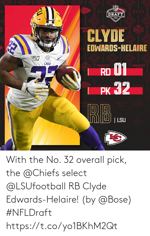overall: With the No. 32 overall pick, the @Chiefs select @LSUfootball RB Clyde Edwards-Helaire! (by @Bose) #NFLDraft https://t.co/yo1BKhM2Qt