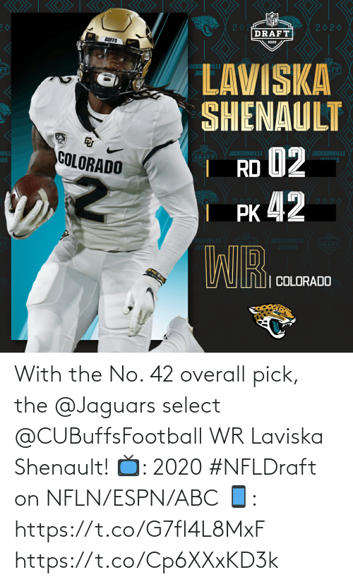 overall: With the No. 42 overall pick, the @Jaguars select @CUBuffsFootball WR Laviska Shenault!  📺: 2020 #NFLDraft on NFLN/ESPN/ABC 📱: https://t.co/G7fI4L8MxF https://t.co/Cp6XXxKD3k