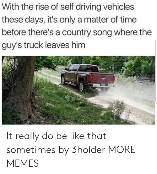 Be Like, Dank, and Driving: With the rise of self driving vehicles  these days, it's only a matter of time  before there's a country song where the  guy's truck leaves him It really do be like that sometimes by 3holder MORE MEMES