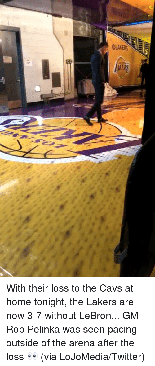 cavs: With their loss to the Cavs at home tonight, the Lakers are now 3-7 without LeBron...  GM Rob Pelinka was seen pacing outside of the arena after the loss 👀 (via LoJoMedia/Twitter)