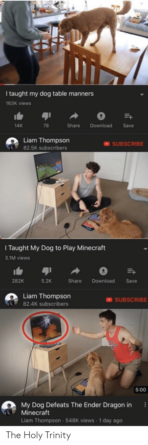 Minecraft, Reddit, and Dragon: Wiyth  I taught my dog table manners  163K views  14K  78  Share  Download  Save  Liam Thompson  SUBSCRIBE  82.5K subscribers  I Taught My Dog to Play Minecraft  3.1M views  Download  282K  5.2K  Share  Save  Liam Thompson  SUBSCRIBE  82.4K subscribers  5:00  My Dog Defeats The Ender Dragon in  Minecraft  Liam Thompson 548K views 1 day ago The Holy Trinity