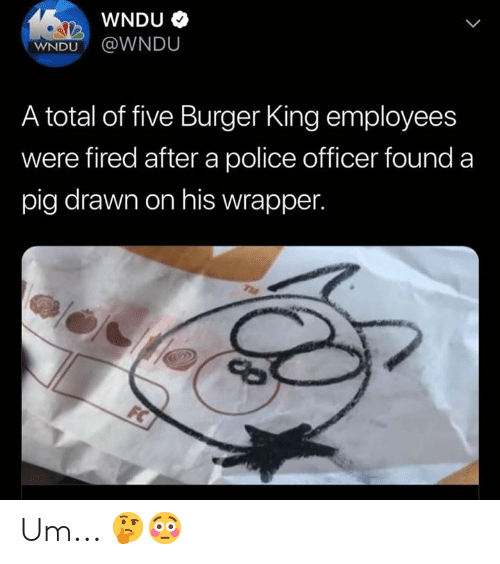 Burger King: WNDU  WNDU@WNDU  A total of five Burger King employees  were fired after a police officer found a  pig drawn on his wrapper.  TME  FC Um... 🤔😳