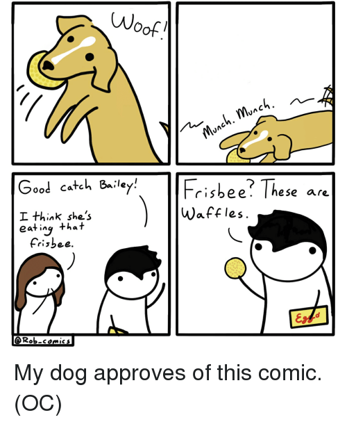 waffles: Wo  Good catch 8iley  I think she's  eat ing that  Frisbee? These are  Waffles  eS.  Frisbee  @Rob-comics My dog approves of this comic. (OC)