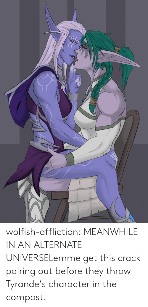 universe: wolfish-affliction:  MEANWHILE IN AN ALTERNATE UNIVERSELemme get this crack pairing out before they throw Tyrande's character in the compost.