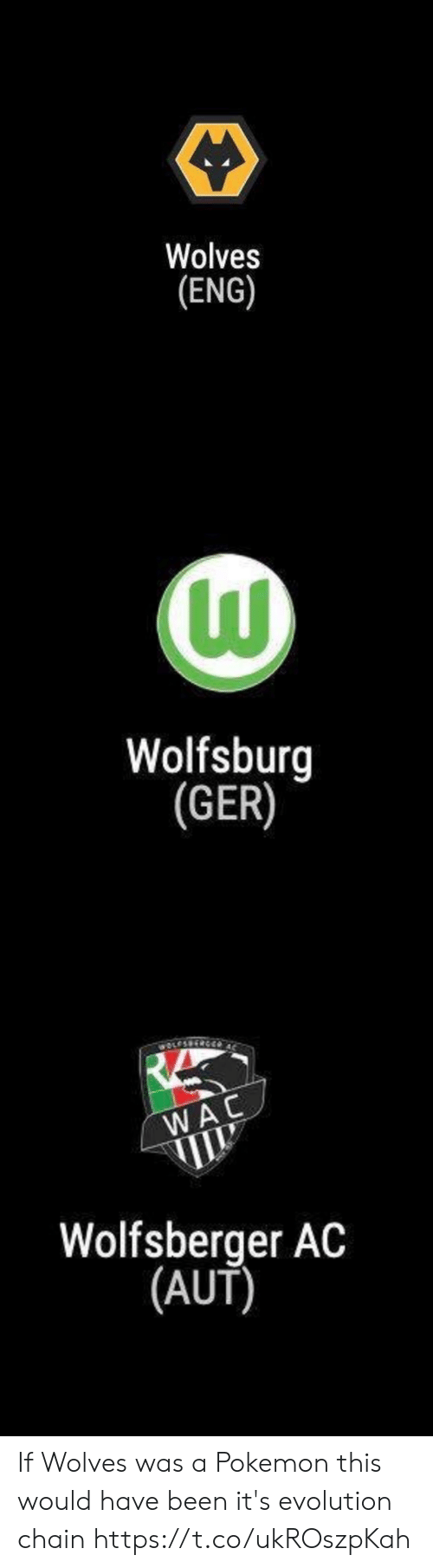 Memes, Pokemon, and Evolution: Wolves  (ENG)   Wolfsburg  (GER)   wOLESS  WAC  Wolfsberger AC  |(AUT) If Wolves was a Pokemon this would have been it's evolution chain https://t.co/ukROszpKah