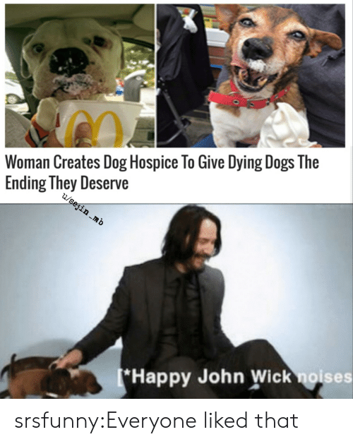 Dogs, John Wick, and Tumblr: Woman Creates Dog Hospice To Give Dying Dogs The  Ending They Deserve  u/sejin mb  (*Happy John Wick noises srsfunny:Everyone liked that