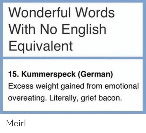 English, Grief, and Bacon: Wonderful Words  With No English  Equivalent  15. Kummerspeck (German)  Excess weight gained from emotional  overeating. Literally, grief bacon. Meirl