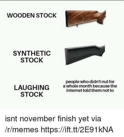Internet, Memes, and The Internet: WOODEN STOCK  SYNTHETIC  STOCK  people who didn't nut for  LAUGHING  STOCK  a whole month because the  internet told them not to isnt november finish yet via /r/memes https://ift.tt/2E91kNA