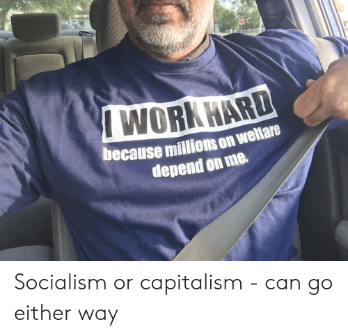 Reddit, Work, and Capitalism: WORK HARD  because millions on weliare  depend on me. Socialism or capitalism - can go either way