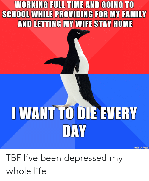 Family, Life, and School: WORKING FULL TIME AND GOING TO  SCHOOL WHILE PROVIDING FOR MY FAMILY  AND LETTING MY WIFE STAY HOME  I WANT TO DIE EVERY  DAY  made on imgur TBF I've been depressed my whole life