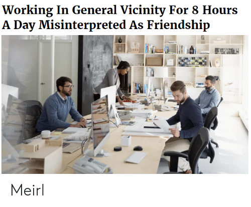 Friendship, MeIRL, and Working: Working In General Vicinity For 8 Hours  A Day Misinterpreted As Friendship Meirl