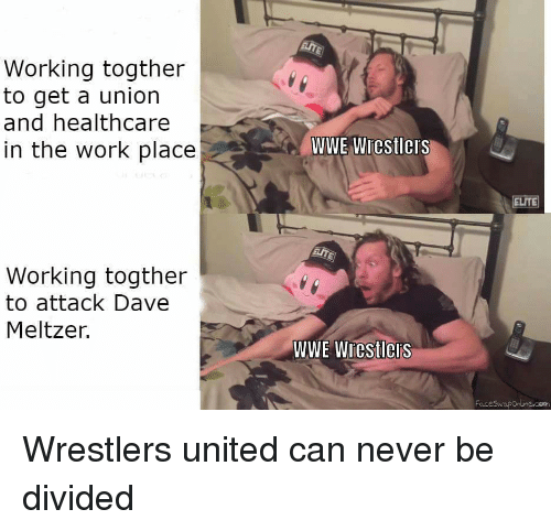 wwe wrestlers: Working togther  to get a union  and healthcare  in the work place  WWE Wrestlers  ELITE  Working togther  to attack Dave  Meltzer.  WWE Wiestleis
