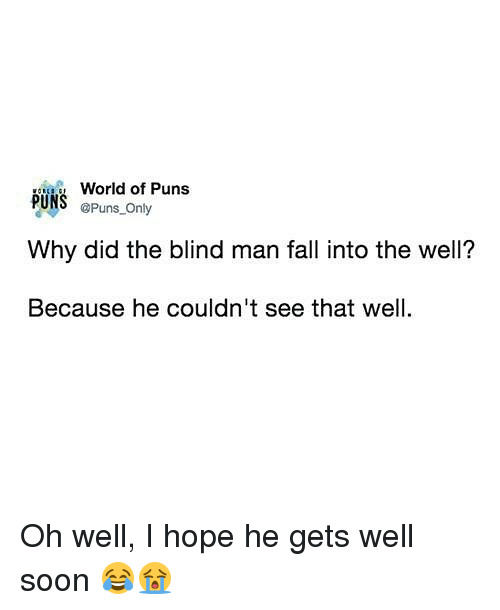Fall, Memes, and Puns: World of Puns  @Puns Only  PUNS  Why did the blind man fall into the well?  Because he couldn't see that well Oh well, I hope he gets well soon 😂😭