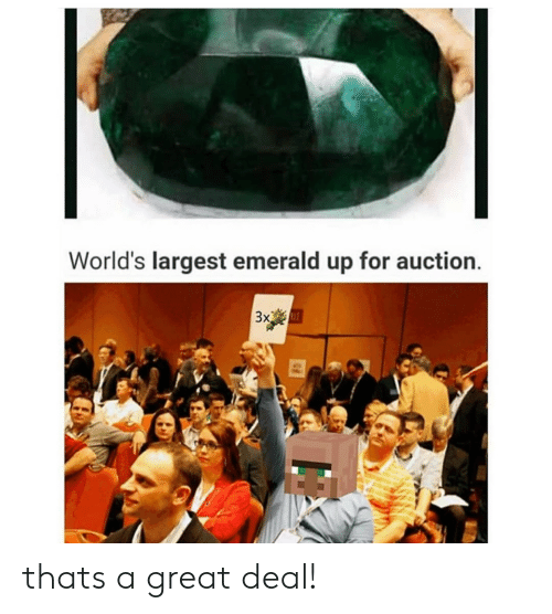 Reddit, Emerald, and For: World's largest emerald up for auction  3x thats a great deal!