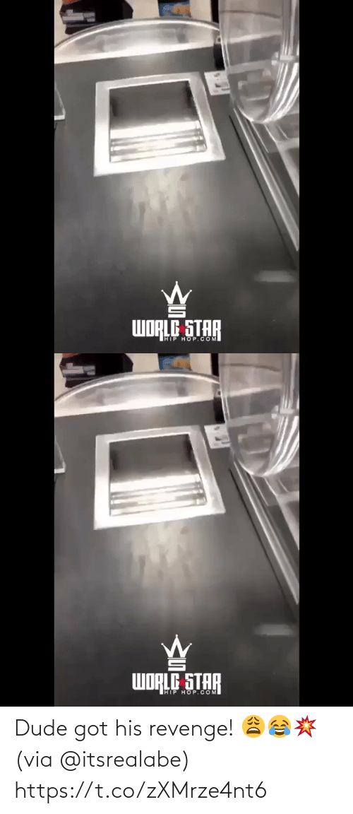 Revenge: WORLE STAR  IHIP HOP.COM   WORLE STAR  IHIP HOP.COM Dude got his revenge! 😩😂💥 (via @itsrealabe) https://t.co/zXMrze4nt6