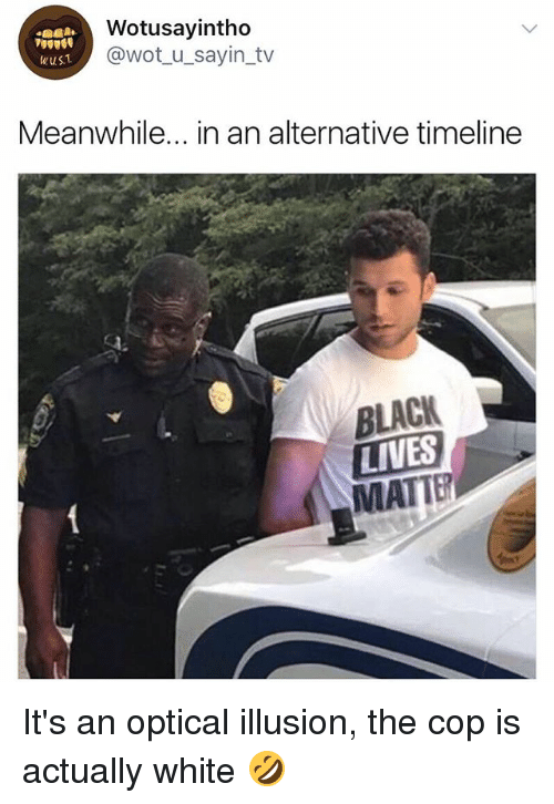 Copped: Wotusayintho  @wot_u_sayin_tv  wus.  Meanwhile... in an alternative timeline  BLACK  LIVES  MATTE It's an optical illusion, the cop is actually white 🤣
