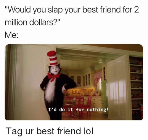 """Best Friend, Funny, and Lol: """"Would you slap your best friend for 2  million dollars?""""  Me:  I'd do it for nothing! Tag ur best friend lol"""