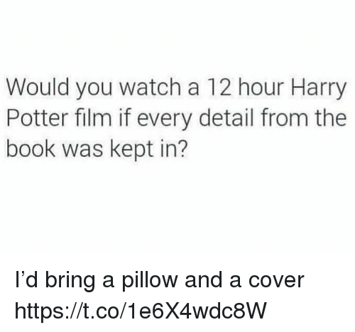 Harry Potter, Memes, and Book: Would you watch a 12 hour Harry  Potter film if every detail from the  book was kept in? I'd bring a pillow and a cover https://t.co/1e6X4wdc8W
