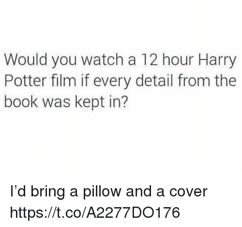 Harry Potter, Memes, and Book: Would you watch a 12 hour Harry  Potter film if every detail from the  book was kept in? I'd bring a pillow and a cover https://t.co/A2277DO176