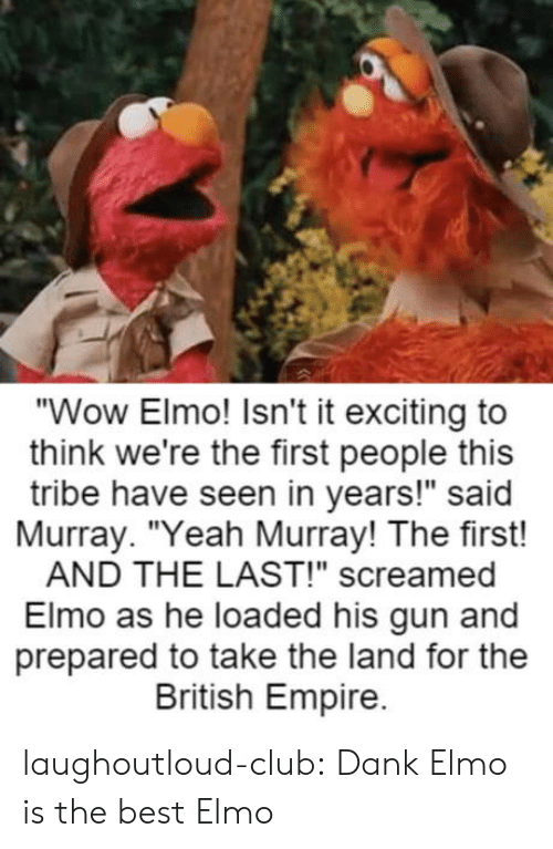 """Elmo: """"Wow Elmo! Isn't it exciting to  think we're the first people this  tribe have seen in years!"""" said  Murray. """"Yeah Murray! The first!  AND THE LAST!"""" screamed  Elmo as he loaded his gun and  prepared to take the land for the  British Empire. laughoutloud-club:  Dank Elmo is the best Elmo"""